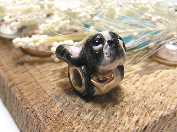 European Pandora Style Boston Terrier Bead Nanjodogz Polymer