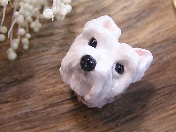 Westie West Highland White Terrier European Bead Polymer Clay Dog Large Hole Charm Stars and Studs