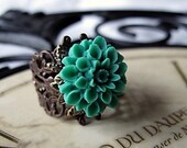 Teal Green Chrysanthemum Flower  Ring With Sage Green Beaded Pouch