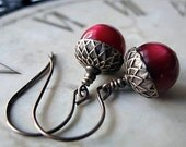Cranberry Acorn Earrings, Vintage Moonglow Beads, Holiday Jewelry