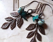 Leaf Earrings,Teal Green Swallow,  Woodland Wedding, Bridesmaid Jewelry