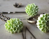 Bridesmaid Jewelry Set, Chrysanthemum  Flower Set, Flower Necklace,  Ring,  And Bobbie Pin,  75 Colors You Choose Your Color