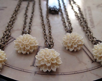 Bridesmaid Jewelry, Chrysanthemum Antique Brass Necklace,  Set Of FIVE, Vintage Inspired Wedding,  You Choose Your Colors