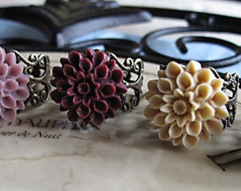 Bridesmaids,  Set Of FIVE,  Chrysanthemum Filigree  Flower Ring's, You Choose Your Color,  Brides On A Budget