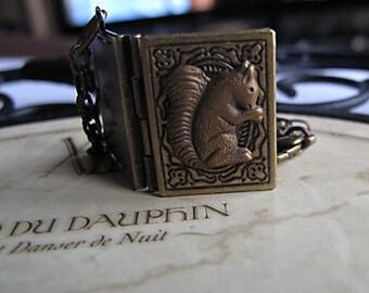Squirrel Book Locket, Antique Brass Jewelry, Storybook, Woodland Wedding