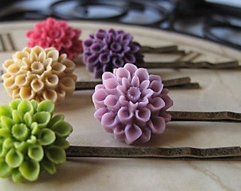 Bobbie Pins, Bridesmaids Gift, Chrysanthemum Flowers, Set Of FIVE, You Choose Your Color, Brides On A Budget