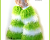 Fluffies - Stripy Lime Green White Rave Furry Leg Warmers