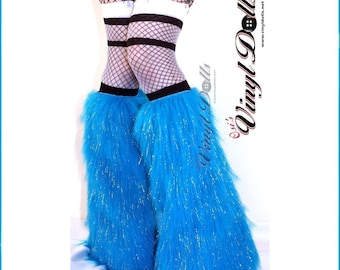 Glitter Raver Fluffies, Fluffy Leg Warmers Fuzzy Boot Covers Neon Blue