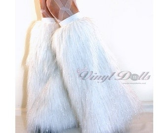 Glitter Fluffies White Go Go Fur Boot Covers Furry Leg Warmers
