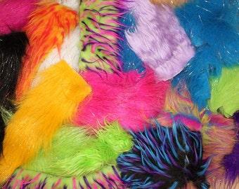 High Quality 2LB Faux Fur Scraps Colorful Mix, Long Pile, Sparkle, 3 Tone Monster Fur