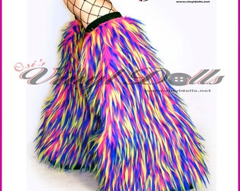 Monster Fluffies Fur Leg Warmers Hot Pink, Neon Yellow, Blue, Fuzzy Boot Covers
