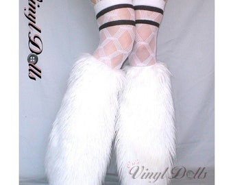 White Rave Fluffies fuzzy Furry Leg Warmers Fluffy Boot Covers