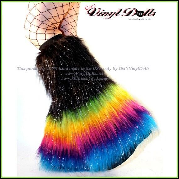 Furry Leg Warmers Midnight Rainbow Rave Fluffies By OsisVinylDolls