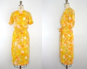 vintage . BUTTERCUP . yellow . floral . wiggle . dress