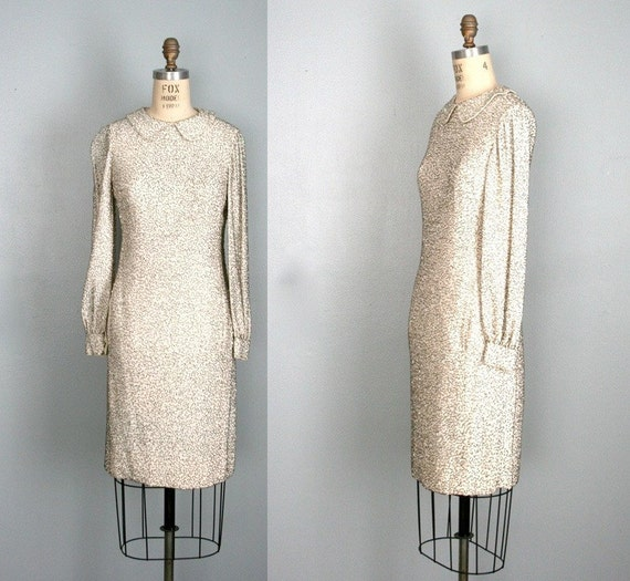 vintage . ALDRICH . 1960s . white . beaded . mini . dress . Saks Fifth Avenue