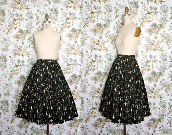 vintage . AQUARIUS . black . 1960s . cotton . skirt