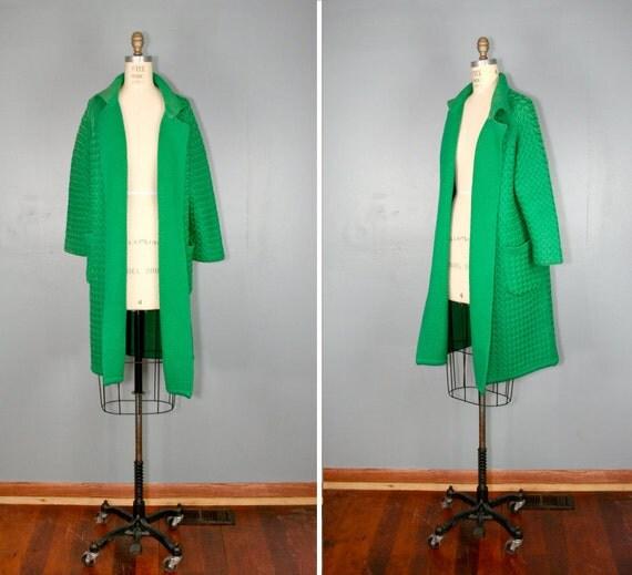 vintage . Gene Shelly . WINDING ROADS . kelly . green . sweater . coat
