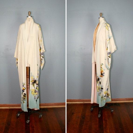 antique . silk . kimono . WATERCOLOR . hand . painted . robe