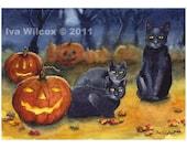 Black Cat Halloween - PRINT of my Original Watercolor Painting Folk Art