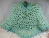 50% off Sale Crocheted Poncho Green Colors a Little Girl