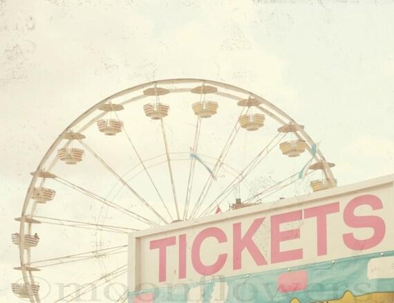 Ticket Booth 5x7 Carnival Ferris Wheel Dreamy Pink Aqua Blue Feminine Nursery Baby Decor Photograph