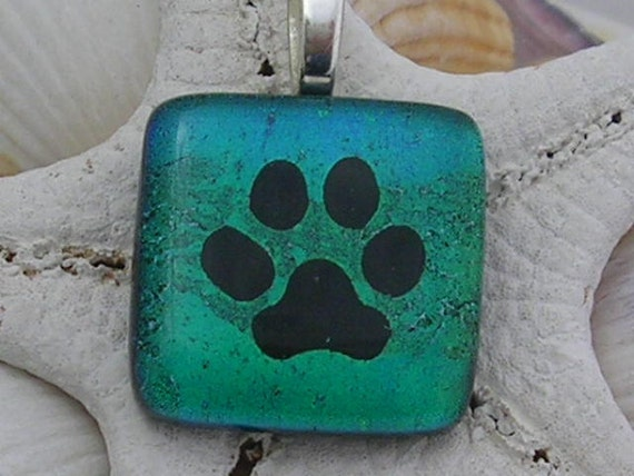 Beautiful Blues And Greens Paw Print Pendant