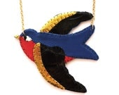 Handstitched Red and Blue Leather Tattoo Swallow Necklace