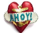 Ahoy Nautical Leather Anchor Heart Brooch