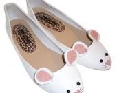 White Mouse Ballet Pump Shoes Size UK 5 - EUR 38