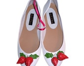 Strawberries and Cream Ballet Pump Shoes Size UK 6 - EUR 39