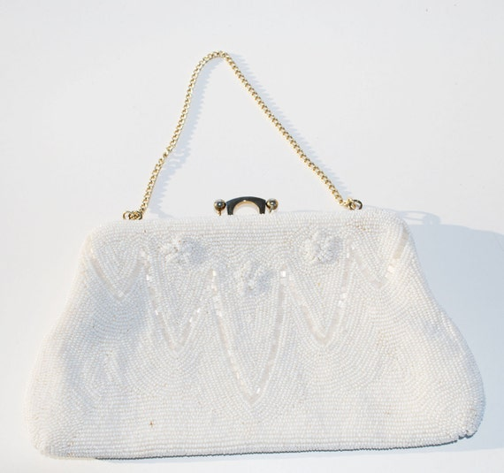 White beaded Evening Bag Clutch Holiday New Year's Eve Wedding Vintage Clutch