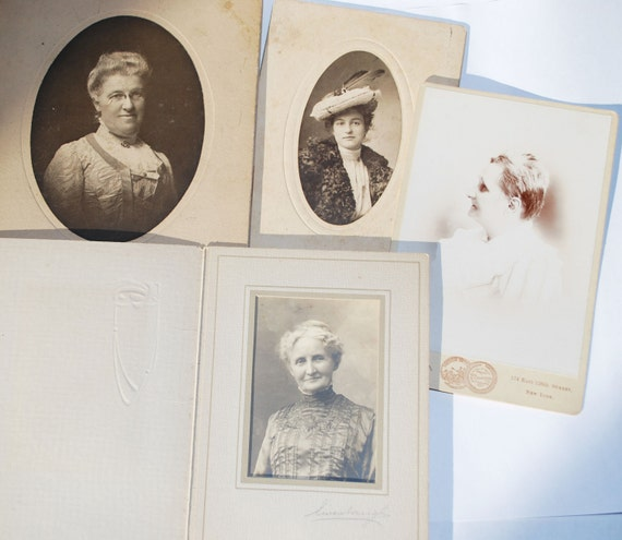 Antique Victorian Studio Portraits of Women, One in a Feathered Hat