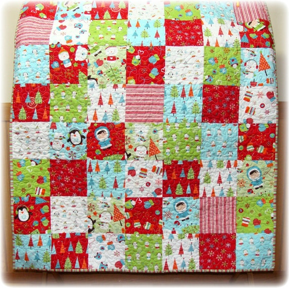 Colorful Christmas Patchwork Baby Quilt By Carlenewestberg