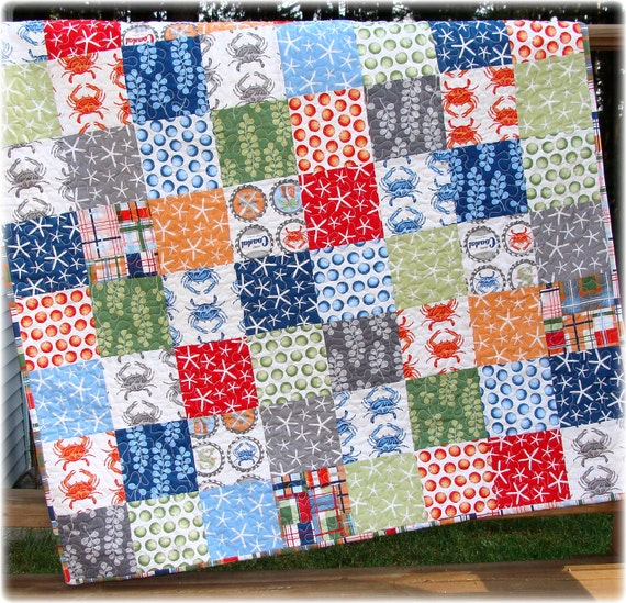 Going Coastal Baby Boy Quilt Custom Made to Order LAST ONE