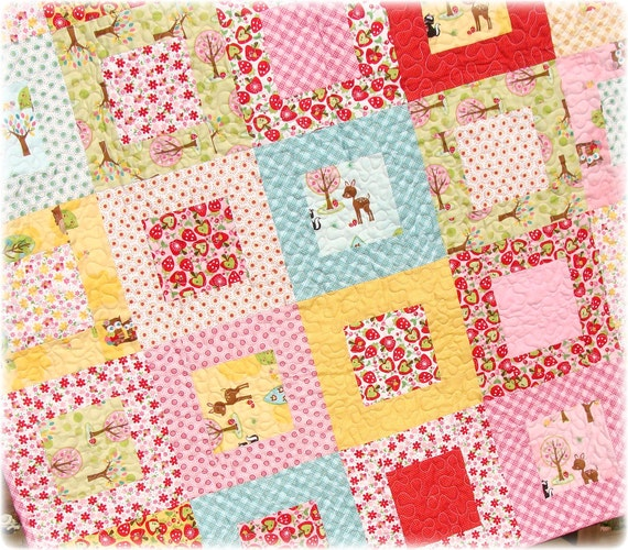 Baby Quilt Hoos in the Forest SALE plus FREE USA Shipping