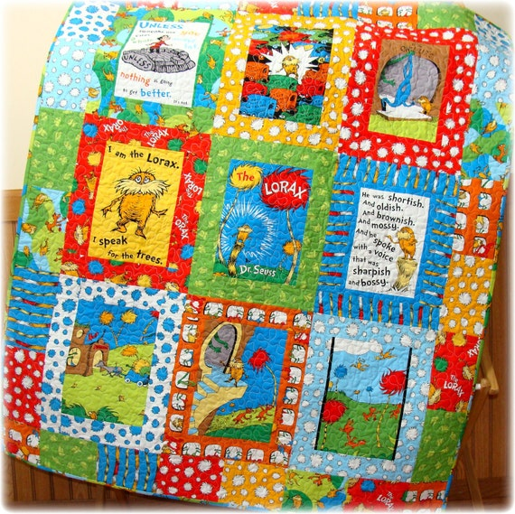 Reserved for Vanessa The Lorax Baby Quilt sets CUSTOM Made to Order