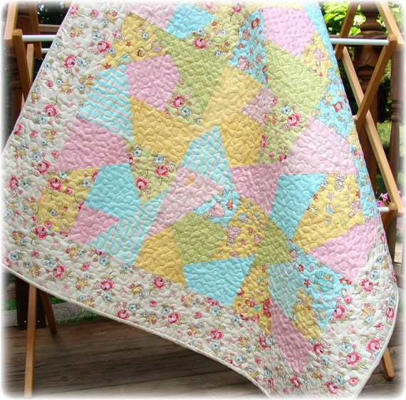 Baby Girl Quilt  Crazy Patch Vintage Baby fabrics