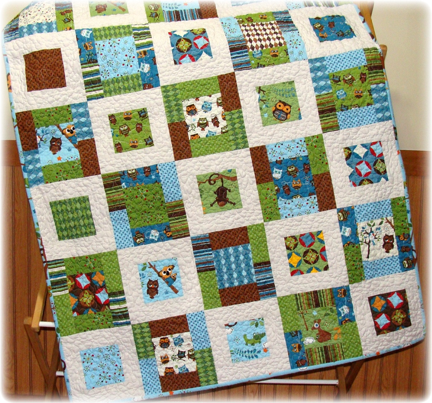 Monkey in the middle baby boy quilt with hooty hoot fabrics for Boy quilt fabric