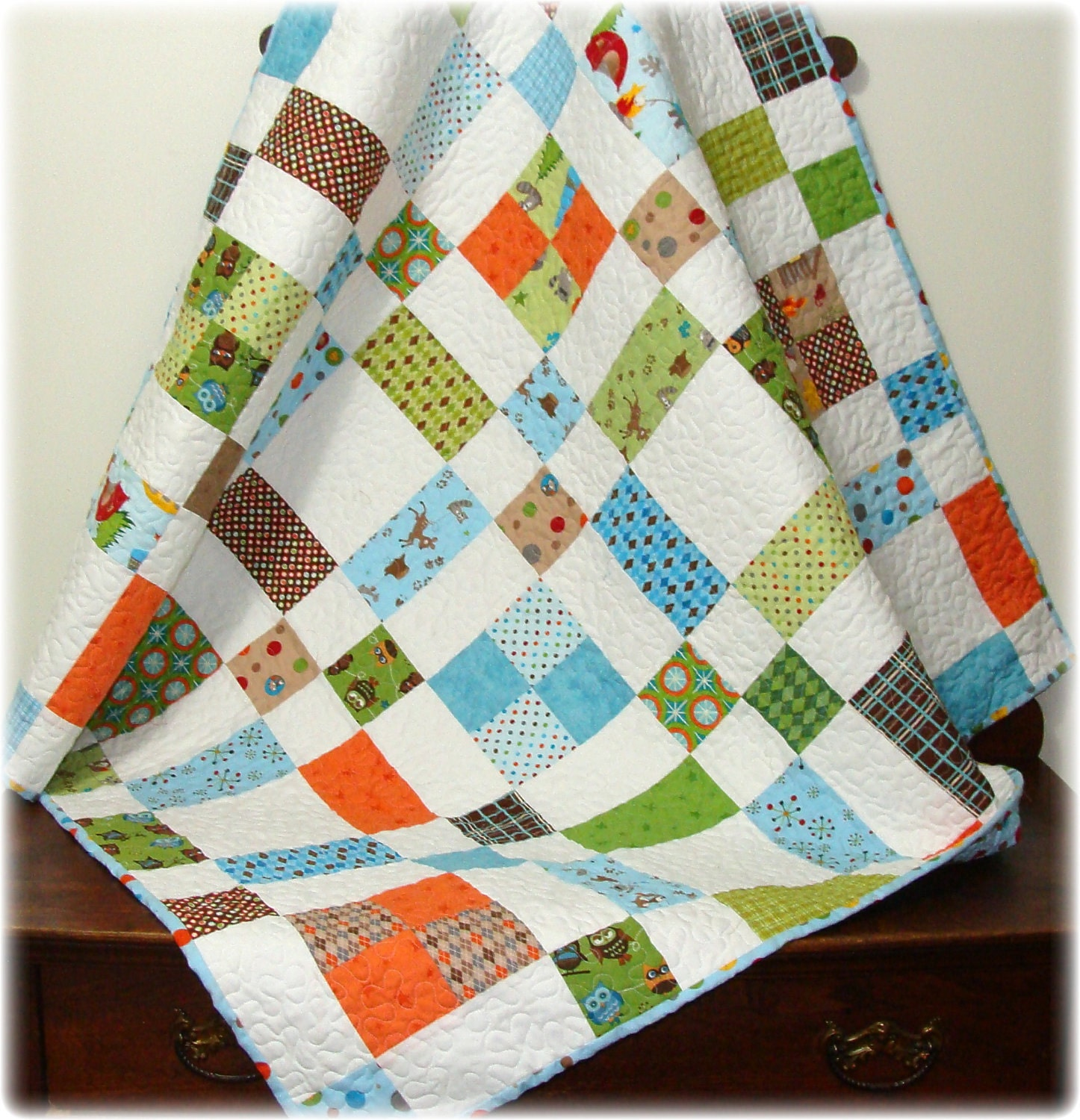 Baby Quilt Patterns For Boy : Baby Boy Quilt Scrappy Scatter Patch