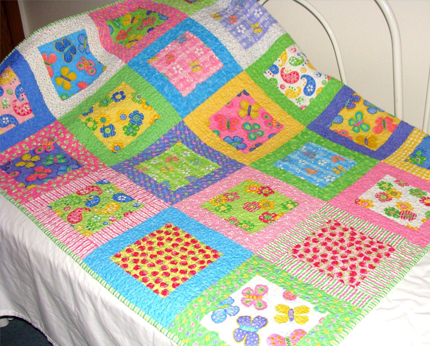 Strawberry Butterfly Baby Crib Size Quilt With Moda Fabrics