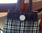Black and Grey Wool Plaid Purse