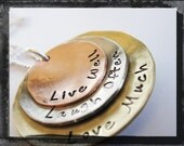Hammered and Textured Stacked Mixed Metal Pendant Live Laugh Love