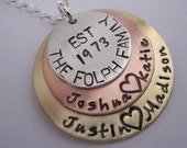 Stacked Mixed Metal Pendant Est Family Names and dates