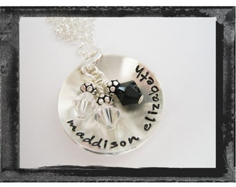 Custom F A M I L Y Name and Birthstone Hand Stamped Domed Charm Necklace