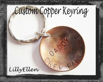 Custom Copper Hand Stamped Keyring for Father's Day