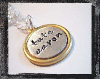 Hand Stamped Jewelry - Brass Setting with Silver Inlay
