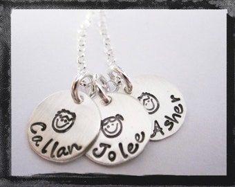 Custom Sterling Silver Hand Stamped 3 Name Tag Charm Necklace for Mom