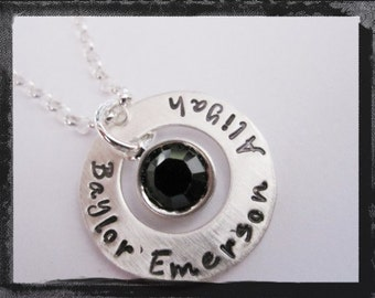 Hand Stamped Necklace - Personalized Sterling Silver Washer Jewelry with Swarovski Birthstone