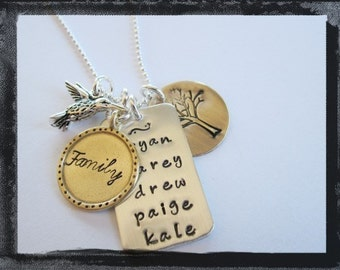 Tree of Life Charm Necklace - Hand Stamped Jewelry - Hummingbird - Personalized