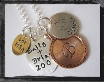 Hand Stamped Jewelry - Personalized Mixed Metal Charm Jewelry - LITTLE FAMILY